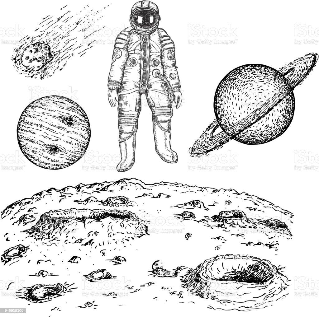 Sketch space icon set, vector ink hand drawn illustration vector art illustration