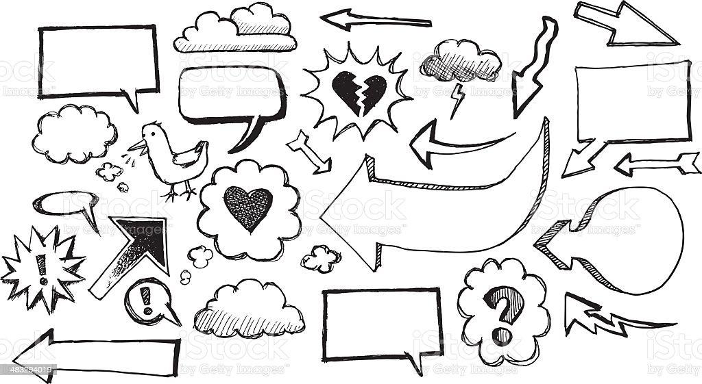 Sketch speech bubbles and arrows royalty-free stock vector art
