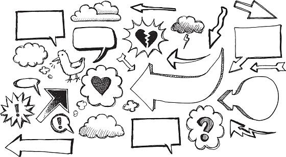 Sketch speech bubbles and arrows