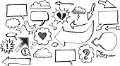 Sketches of speech / thought bubbles, arrows, clouds. Includes doodles of icons, ideas, question marks, exclamation marks, twitter birds, love, broken hearts, dialogue, lightning, storm, clouds.