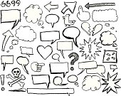 Sketches of speech / thought bubbles, arrows, clouds. Includes doodles of ideas, question marks, exclamation marks, twitter birds, love, broken hearts, dialogue, skull and crossbones (pirate symbol), hand icons, finger pointing.