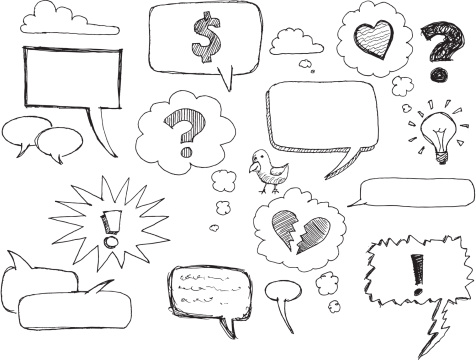 Sketch speech / thought bubbles