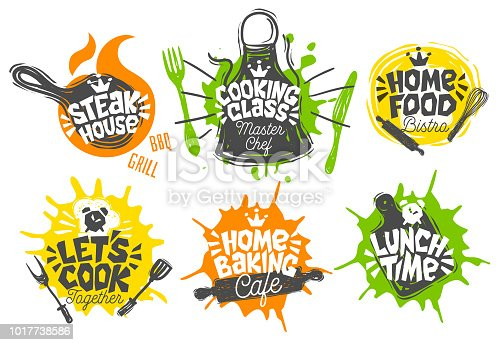 Sketch style cooking lettering icons set. For badges, labels, symbol, bread shop, bakery, street festival, farmers market country fai, shop kitchen classes. Hand drawn vector illustration.