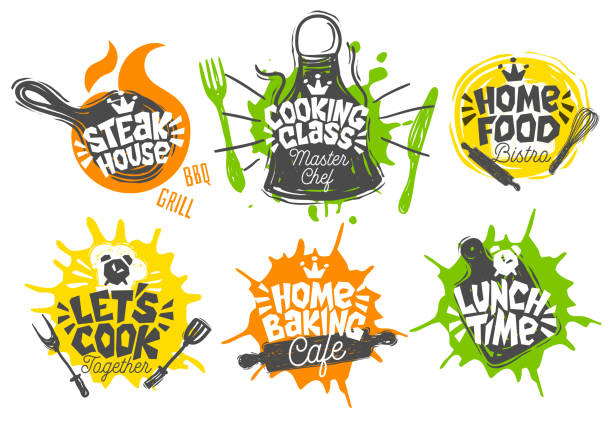 Sketch style cooking lettering icons set. Sketch style cooking lettering icons set. For badges, labels, symbol, bread shop, bakery, street festival, farmers market country fai, shop kitchen classes. Hand drawn vector illustration. cooking utensil stock illustrations