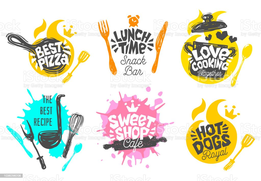 Sketch style cooking lettering icons set. Sketch style cooking lettering icons set. For badges, labels, logo, sweet shop, bakery, snack bar, street festival, farmers market, country fair shop kitchen classes, cafe, food studio Badge stock vector