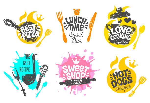 stockillustraties, clipart, cartoons en iconen met schets stijlenset koken belettering pictogrammen. - lunch