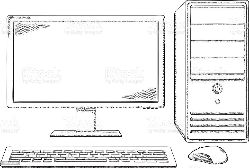 Line Drawing Keyboard : Sketch style desktop computer monitor keyboard and mouse