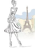 Sketch style fashion woman near Eiffel tower in Paris, beautiful girl at city background vector illustration art