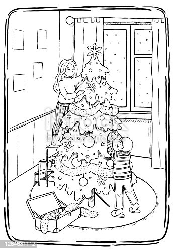 Sketch style, graphic vector illustration. Ð¡hildren decorate the Christmas tree. Winter Holidays. Happy Childhood. Outline drawing isolated on white. Design for poster, print, postcard, t shirt etc.