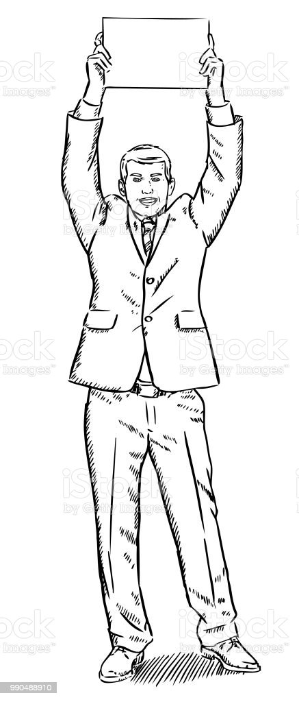 sketch style illustration of businessman holding a blank page over New Blank Page sketch style illustration of businessman holding a blank page over his head royalty free sketch