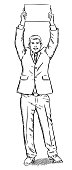 Sketch style illustration of businessman holding a blank page over his head