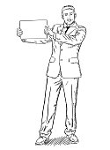 Sketch style illustration of businessman standing and holding blank page in his hand