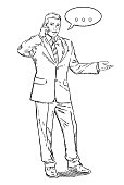Sketch style illustration of businessman standing and talking by a mobile phone