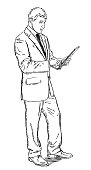 Sketch style illustration of businessman standing and using computer tablet