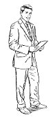 Sketch style illustration of businessman standing with computer tablet