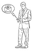 Sketch style illustration of businessman standing with mobile phone and revising a email message