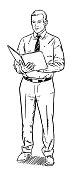 Sketch style illustration of happy businessman reading file folder