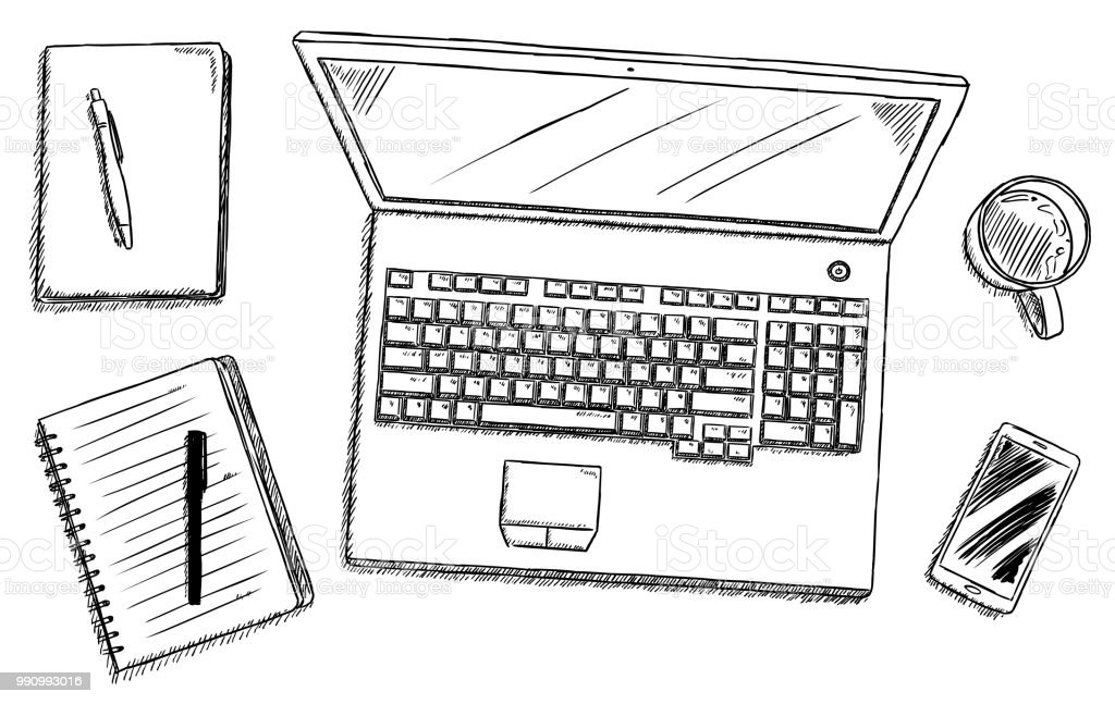 office desk laptop computer notebook mobile. Fine Office Sketch Style Illustration Of Office Desk With Laptop Notebooks Pencup  Coffee Intended Office Desk Laptop Computer Notebook Mobile