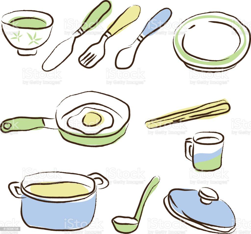 Desenho De Utens Lios De Cozinha Arte Vetorial De Acervo E Mais  ~ Desenho Utensílios De Cozinha