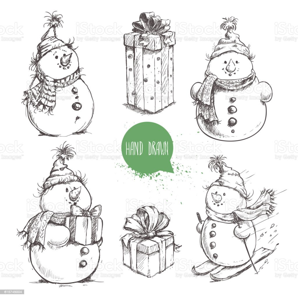Sketch style snowman and Christmas gift boxes set. - Illustration vectorielle
