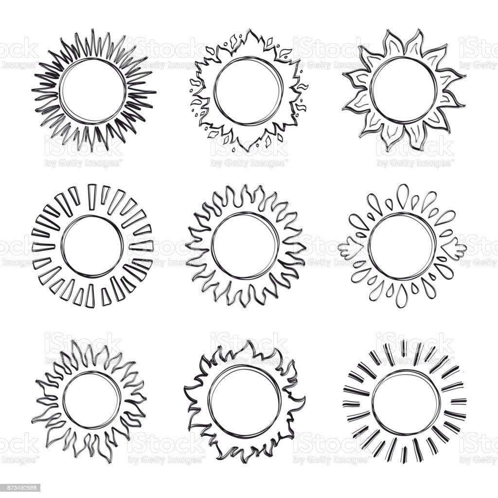 Sketch Sun Hand Drawn Sunshine Symbols Cute Vector Doodle Suns Stock