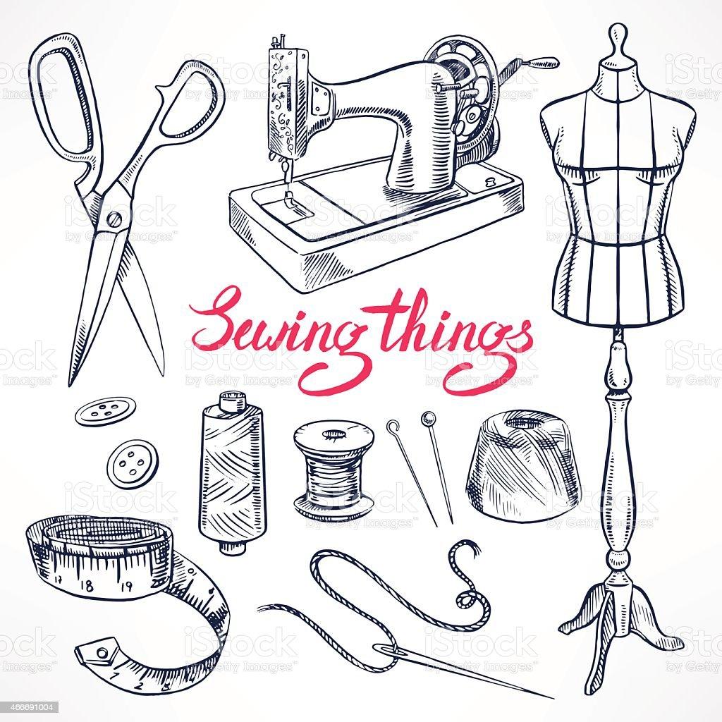 sketch tailoring equipment vector art illustration