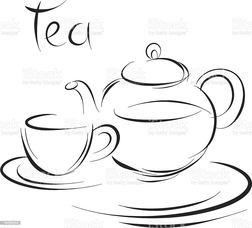 Sketch tea cup and teapot royalty-free stock vector art