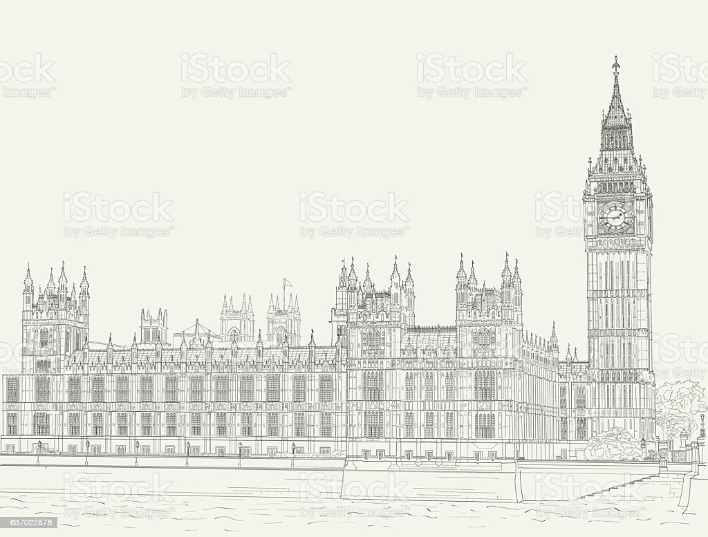 Sketch the palace of Westminster vector art illustration