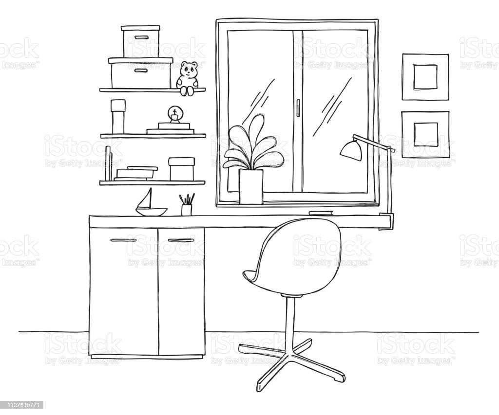 Ilustración Habitación Oficina Escritorio Silla Boceto De La Iy76gvYbf