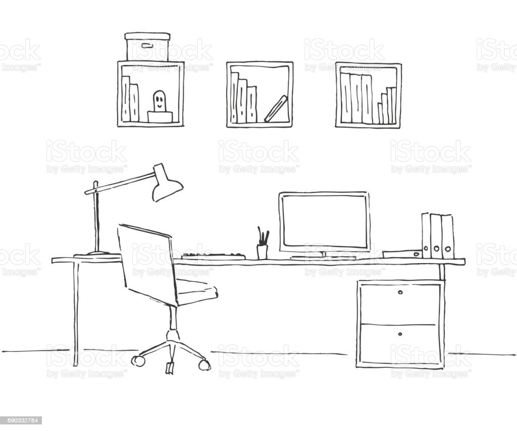 Drawing Lines In Office : Sketch the room office chair desk various objects on