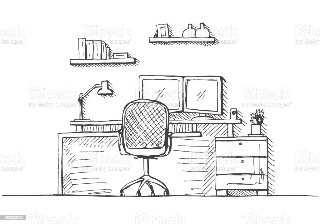 Bürostuhl skizze  Skizzieren Sie Das Zimmer Bürostuhl Schreibtisch Verschiedene ...