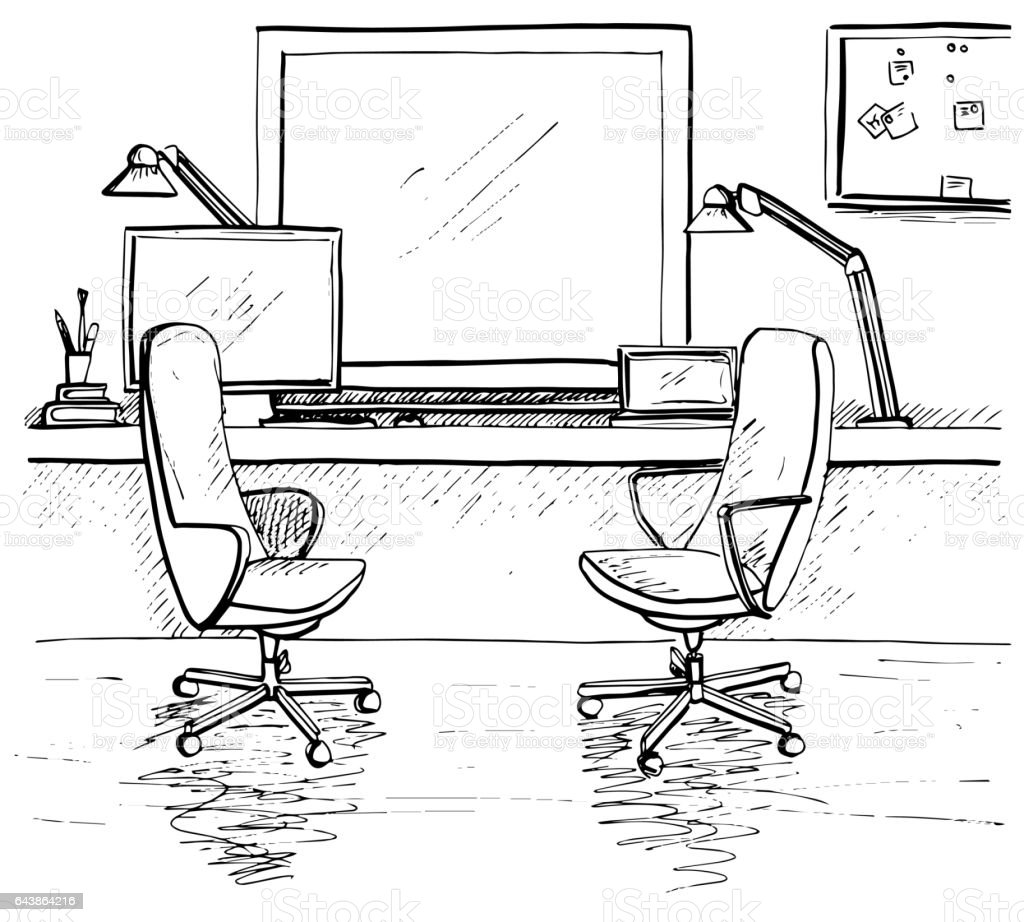 sketch the room two office chairs desk various objects on