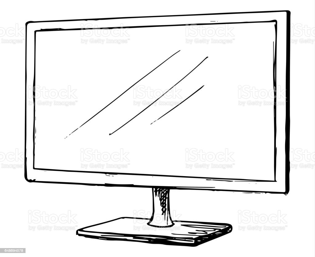 desk clipart black and white. Sketch Tv Isolated On A White Background Monitor Vector . Desk Clipart Black And