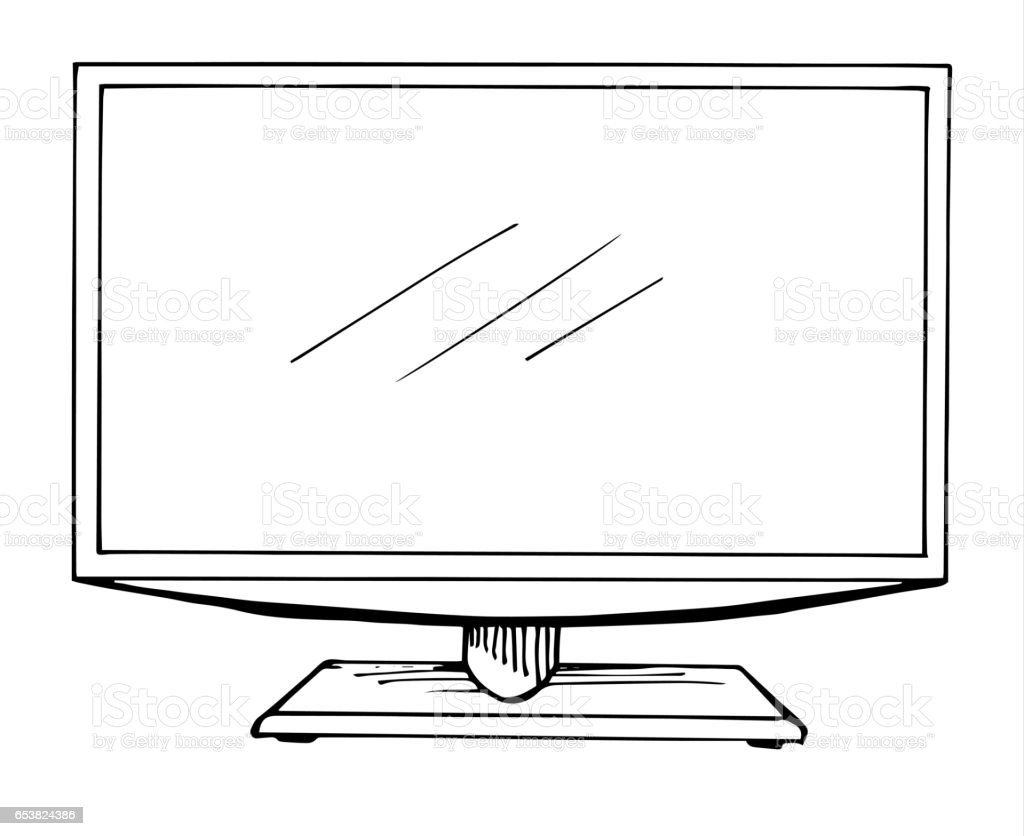 Sketch Tv Isolated On A White Background Monitor Vector