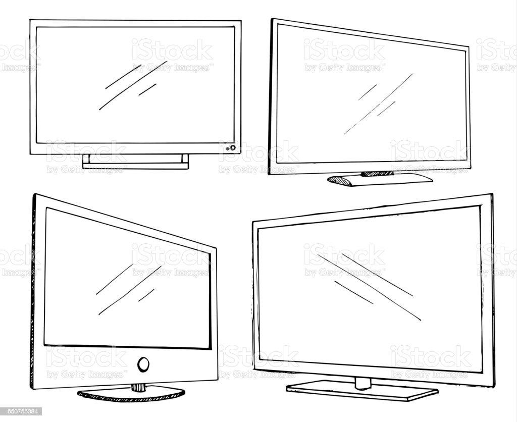 royalty free television flatscreen sketch clip art  vector images  u0026 illustrations