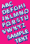 Vector illustration of three dimensional alphabet in sketchy style
