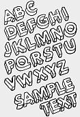 Vector illustration of three dimensional alphabet in sketchy style.
