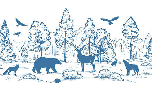 Sketch vector horizontal seamless border from trees and animals. Blue animals silhouettes and forest isolated on white background. Deer, hare, fox, hedgehog, wolf, bear and birds.