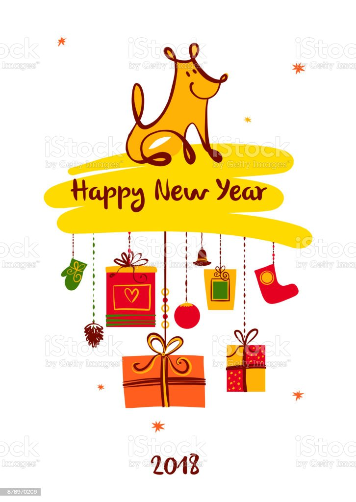 happy new year of earth dog template card banner