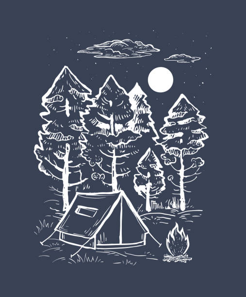 Sketch vector of a coniferous forest, tent, bonfire and moon. Engraving style Sketch vector of a coniferous forest, tent, bonfire and moon. Engraving style. Romantic hand drawn vector illustration on a black background. Design for t-shirt print, postcard, poster, engraving adventure drawings stock illustrations