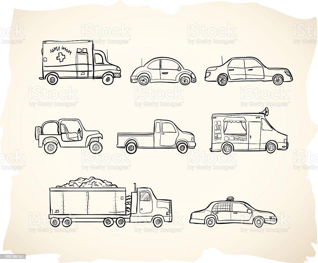 Sketch Vehicles vector art illustration