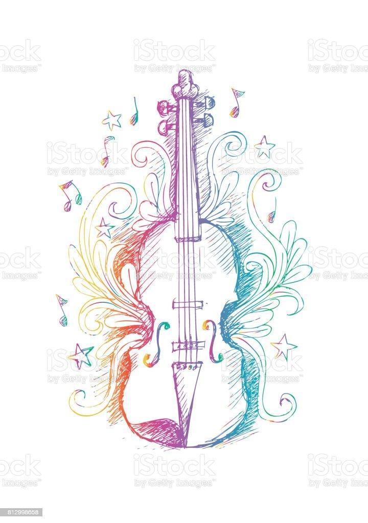 Vetores De Desenho De Violino Com Ornamento Floral E Mais Imagens