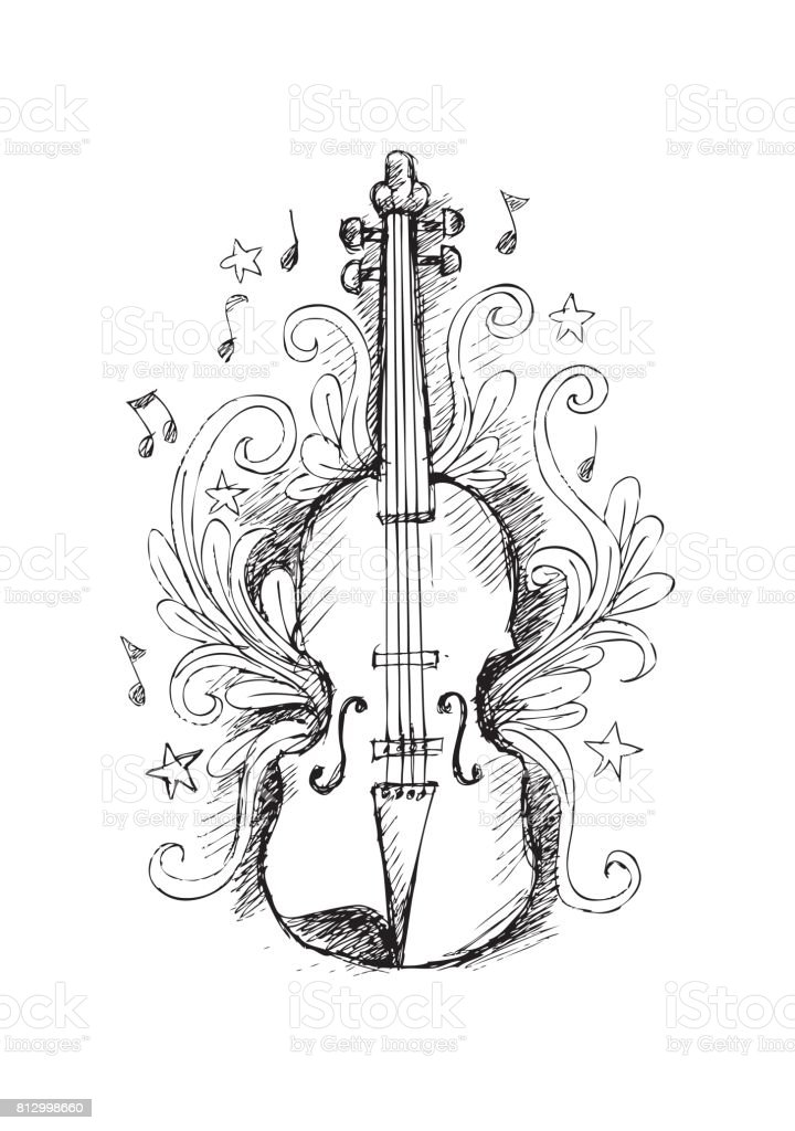 sketch violin with floral ornament stock vector art amp more