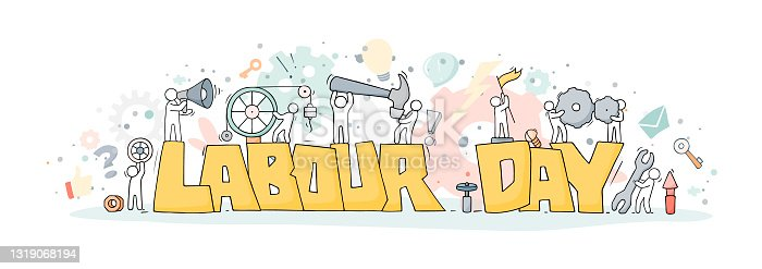 istock Sketch with words Labour Day and little people. 1319068194