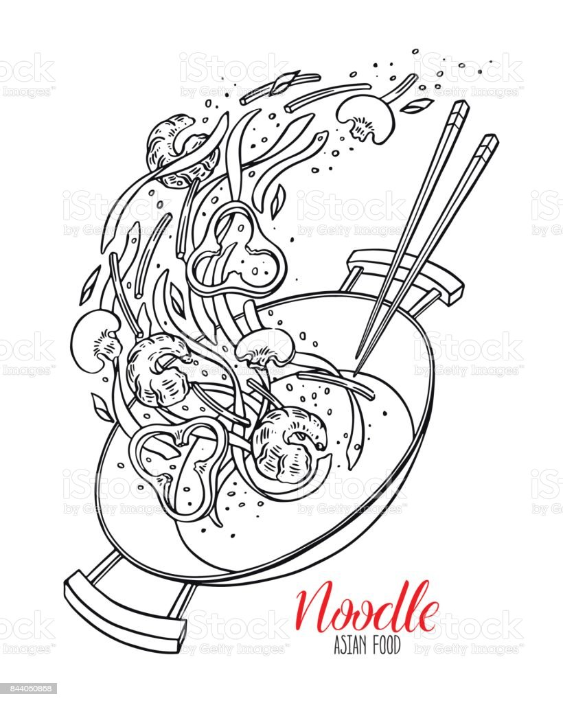 sketch wok pan of chinese noodles vector art illustration