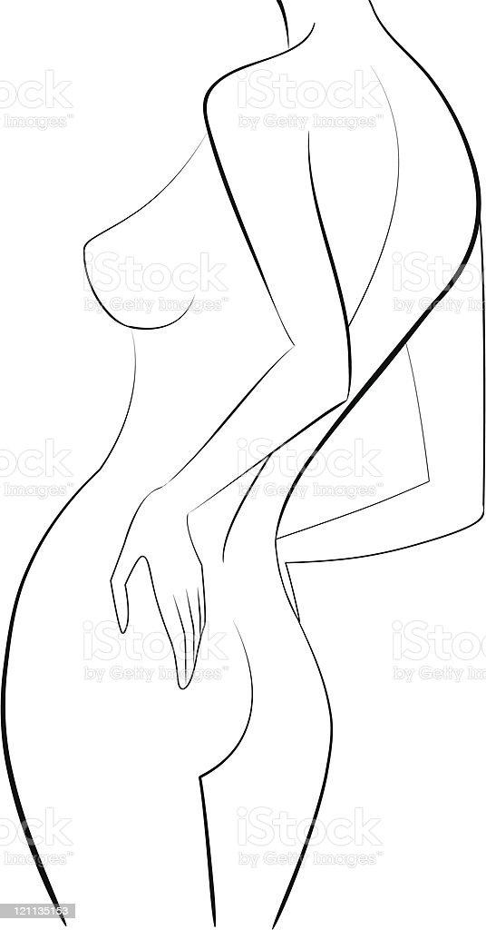 sketch woman back vector illustration vector art illustration