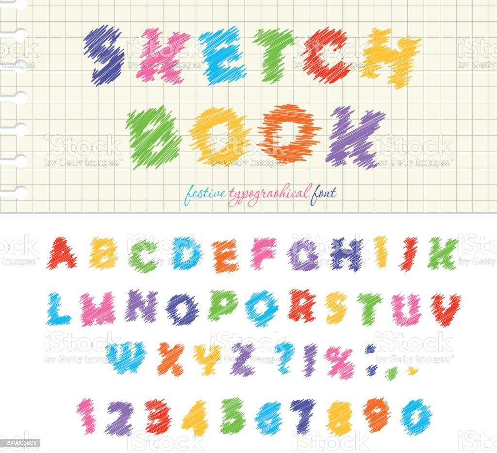 スケッチ ブックのカラフルなフォント デザインabc 落書き引っかくような