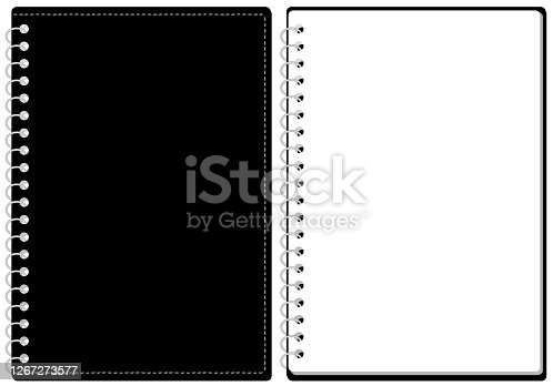 Sketchbook Ring Notes Cover and Page Set Illustration Vector