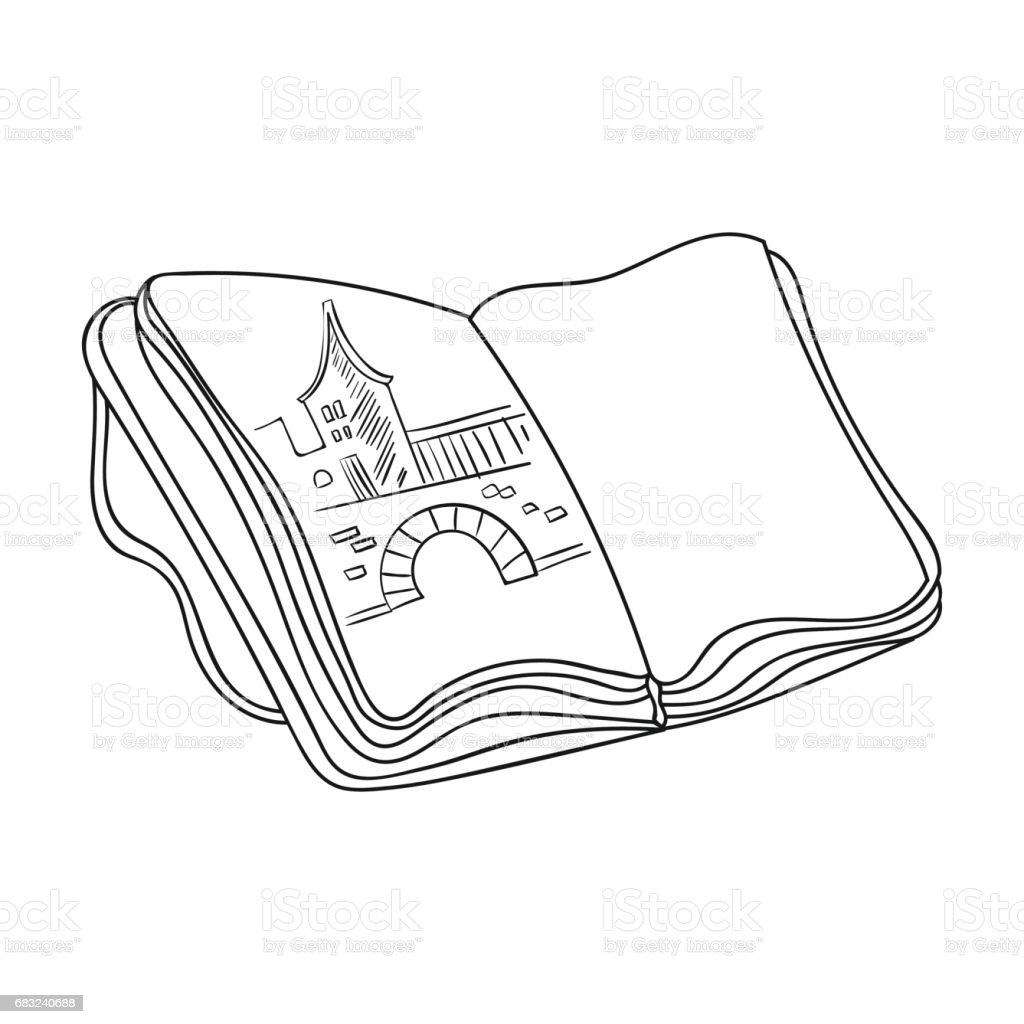 Sketchbook with drawings icon in outline style isolated on white background. Artist and drawing symbol stock vector illustration. sketchbook with drawings icon in outline style isolated on white background artist and drawing symbol stock vector illustration - arte vetorial de stock e mais imagens de caderno de esboços royalty-free