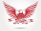 Sketched american eagle emblem design